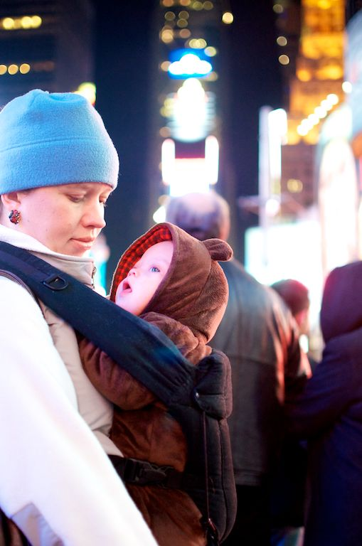 first time baby sees times square infant new born down syndrome New York