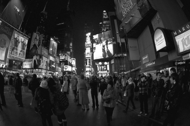 black white picture first snow times square