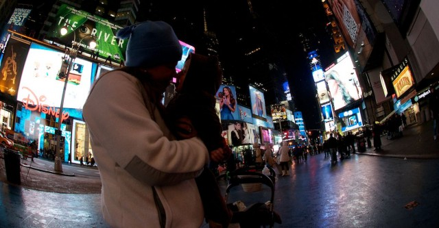 mommy mom and son baby eskimo kiss times square