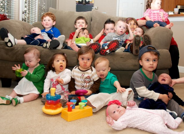 down syndrome babies children party group picture toddlers