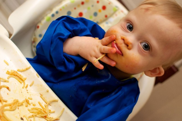 self-feeding-spaghetti-baby-child-down-syndrome 3