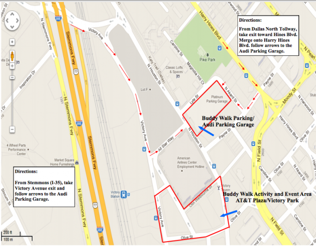 2012 buddy walk dallas map directions