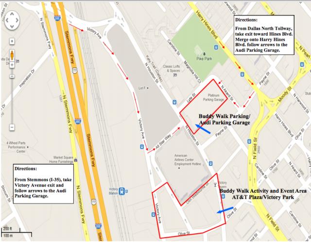 2012 buddy walk dallas map directions