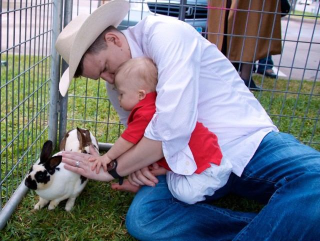 baby down syndrome petting rabbit