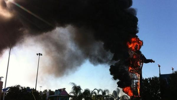 big tex catches fire