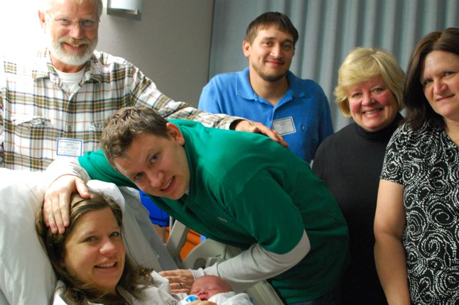 our family seeing our son with down syndrome for the first time