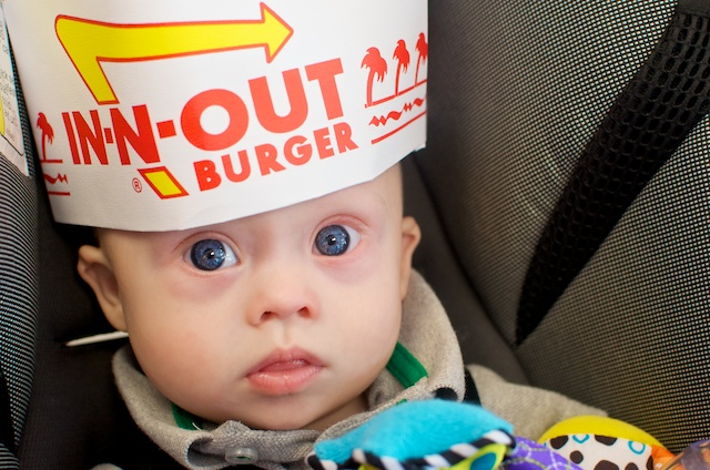 Hanging out at in and out burger with our son!
