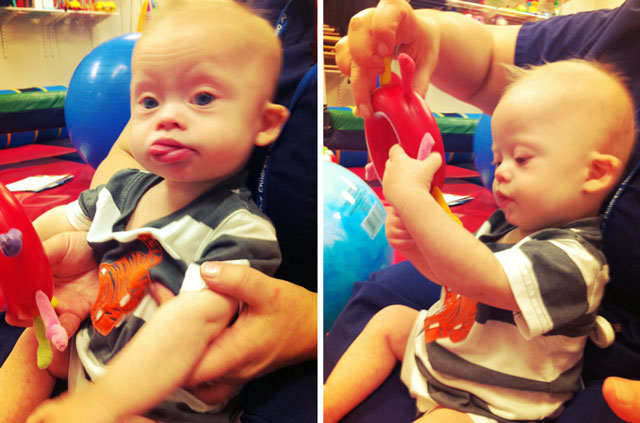 developmental delays child with down syndrome at occupational therapy