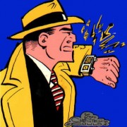 dick tracy wears watch hat and trenchcoat trench coat