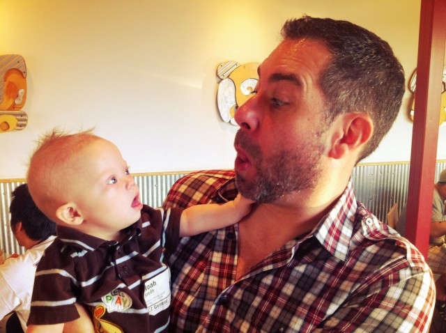 noah liked playing with mark matlocks beard for sensory development