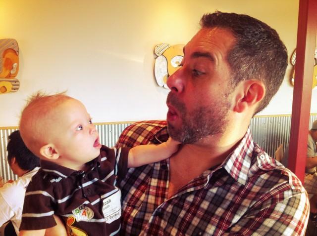 noah liked playing with mark matlocks beard for sensory development