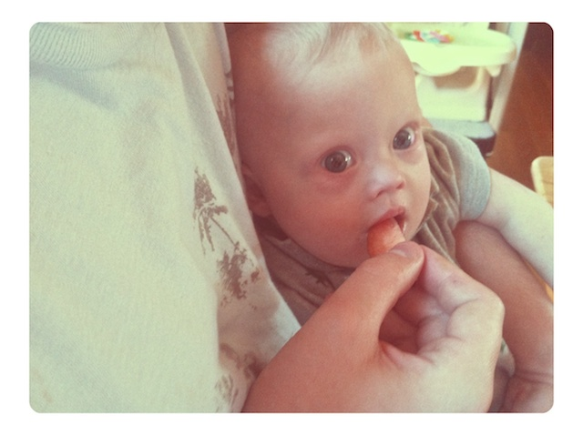 down syndrome baby eating