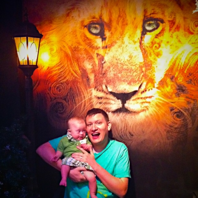 boy with down syndrome with aslan