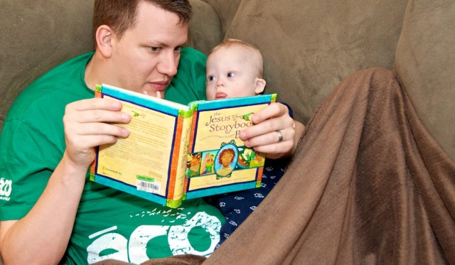 down syndrome boy baby father jesus storybook bible
