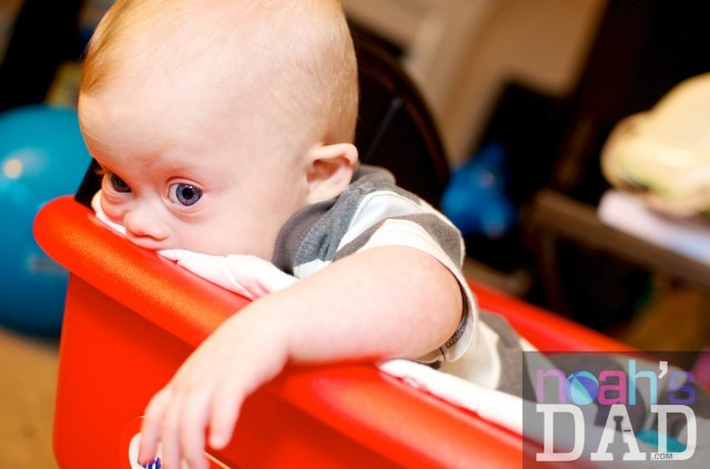 our son born with down syndrome in red wagon