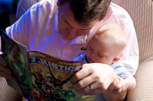 Father and Son reading JLA Justice League of America