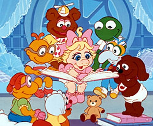 muppet babies carton having fun reading book