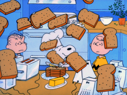 snoopy charlie brown having thanksgiving cartoon