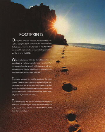 footprints in the sand poem religious poster