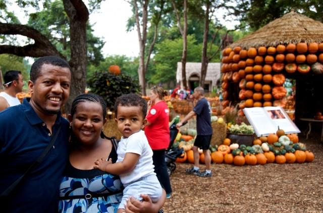 family friends from Ethiopia at the dallas arboretum pumpkin fest