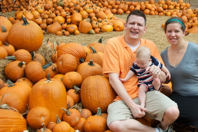 family with child with down syndrome at arboretum