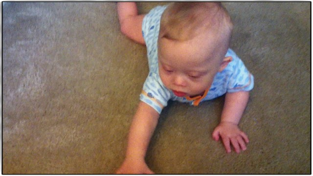 baby down syndrome learning to crawl first time