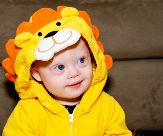 baby with down syndrome halloween outfit lion