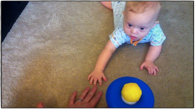 baby down syndrome learning to crazy fathers hand