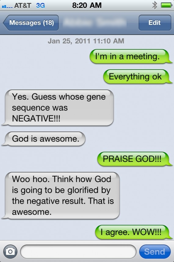 ga-1 test results via text message parents