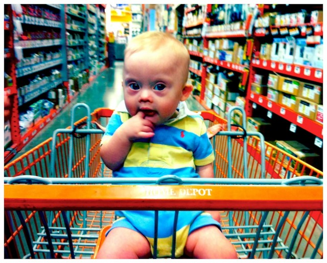 baby down syndrome first time sitting up shopping cart