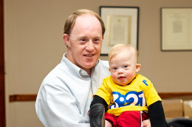 Noah's Dad and Noah celebrate World Down Syndrome Day