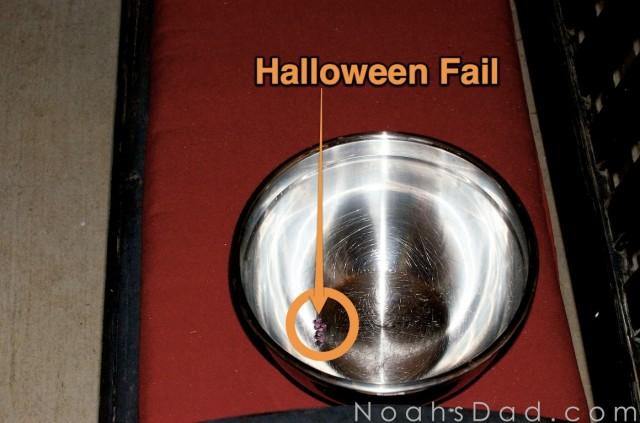 empty candy bowl halloween fail