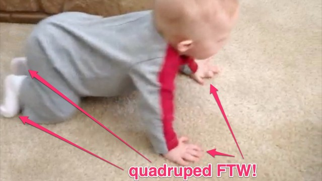 quadruped learning to crawl down syndrome baby
