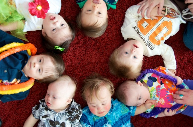 down syndrome group picture babies friends