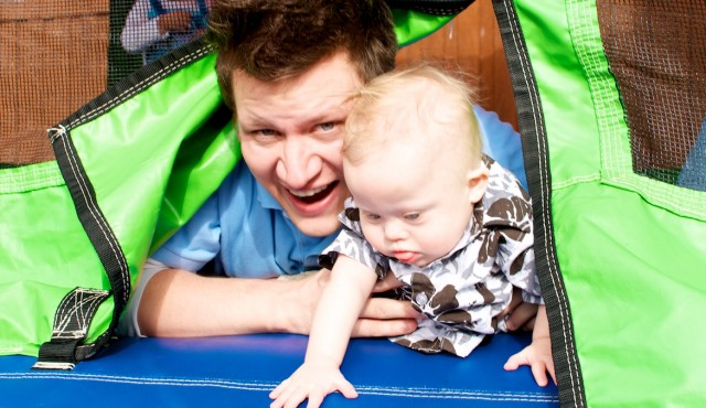 bounce house down syndrome birthday party father son