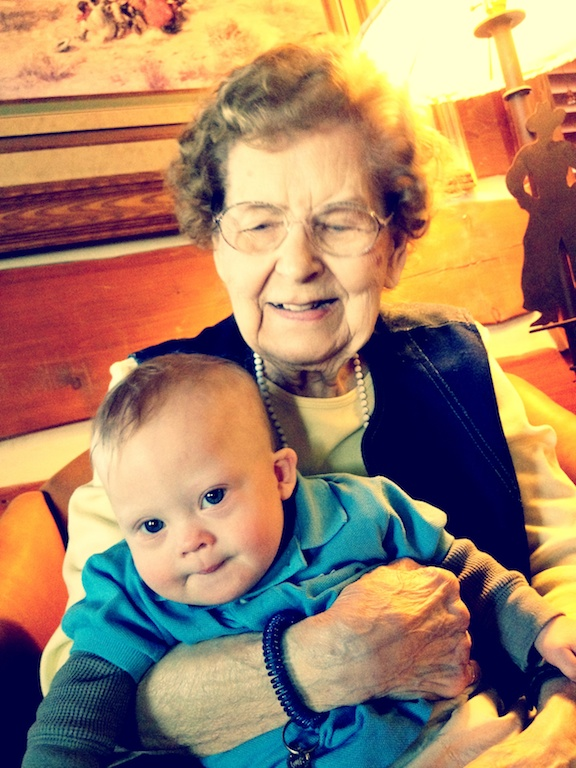 Great Grandmother Hugs, Fun Crawl Mats, An Early Birthday Cake, And One Proud Son!