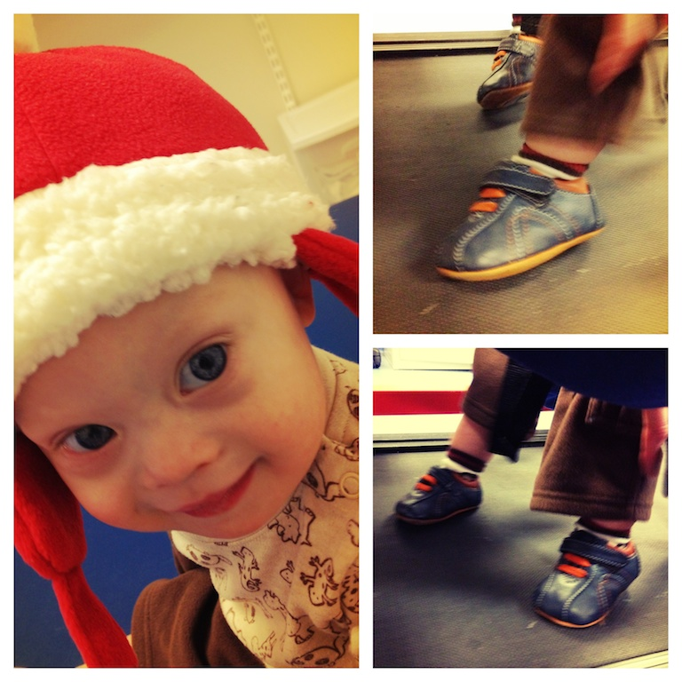 cute baby down syndrome santa hat