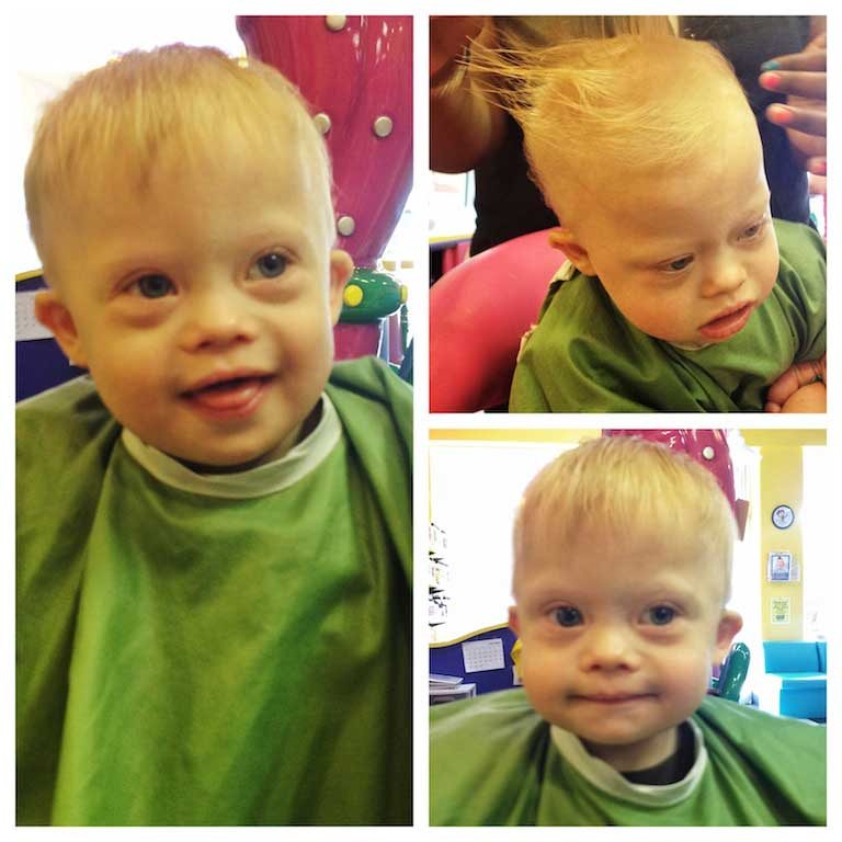 child down syndrome first hair snip its