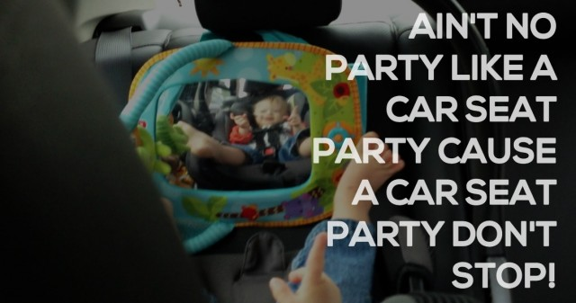 cute baby dancing in car seat down syndrome