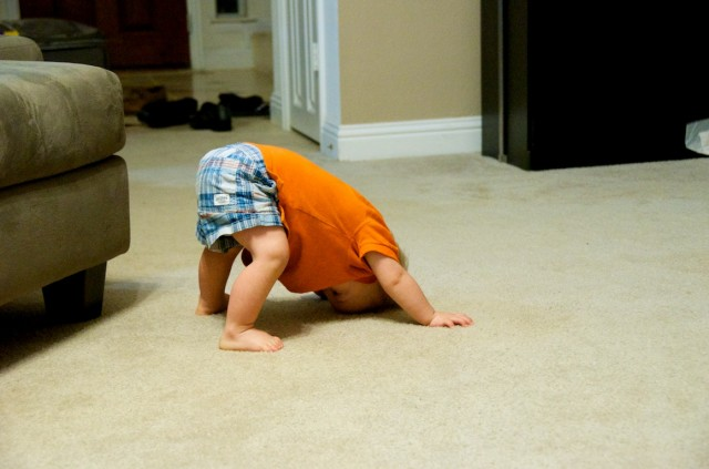 child down syndrome learning to stand up