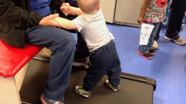kids on treadmill learn to walk