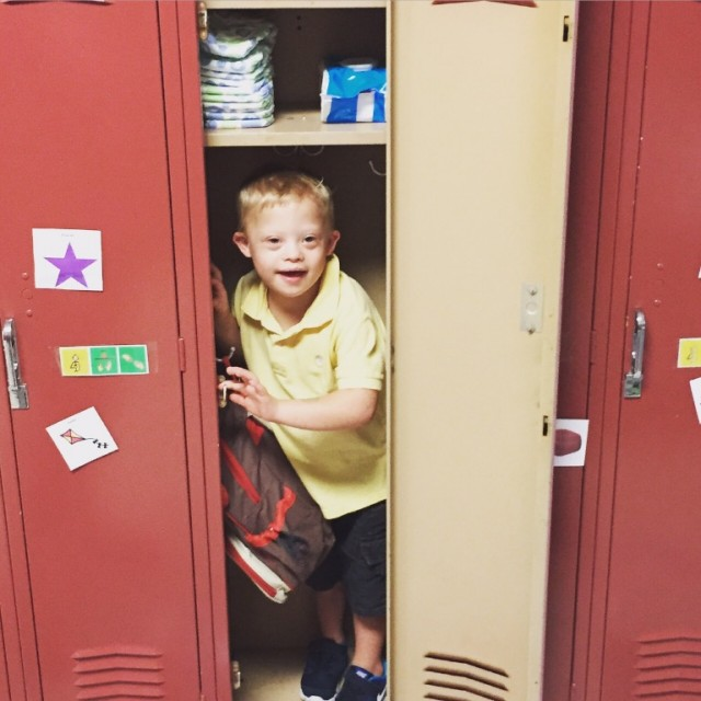 (And here's to helping him learn how to use a locker!) :)