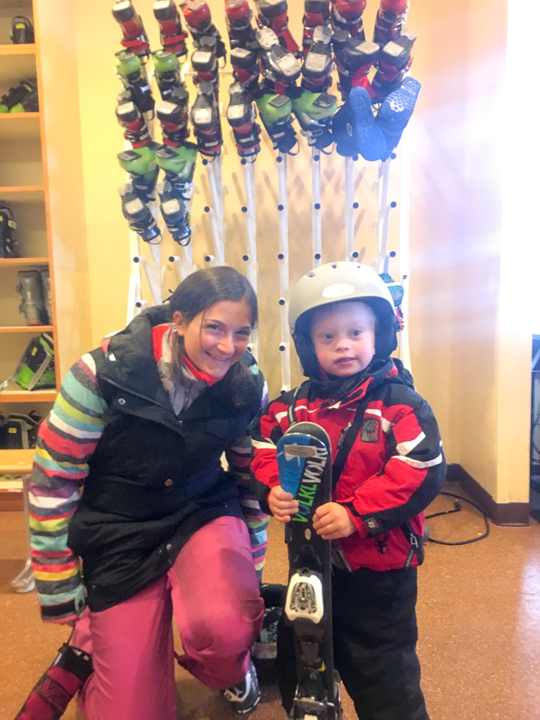 rental ski helmet down syndrome boy