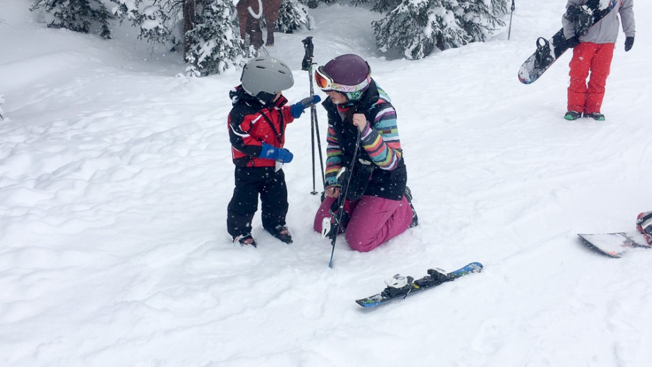 child learning to ski at snowmass