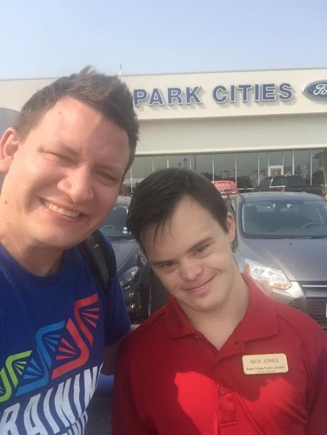 employe with down syndrome working at car dealership