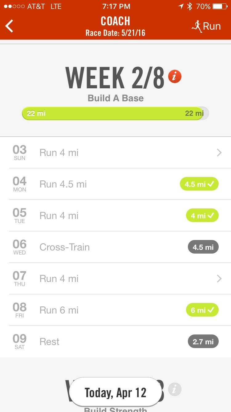 new york marathon pre training week 2 nike app