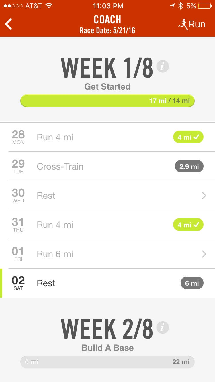nike iPhone app marathon training week 1-pre-training