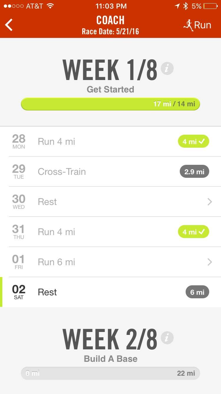 nike iPhone app marathon training week 1-pre-training