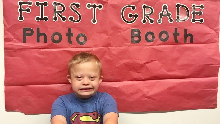 first day of 1st grade down syndrome kid