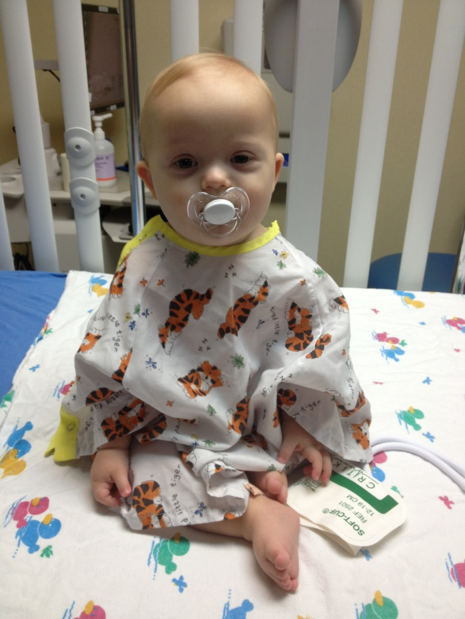 child with down syndrome before heart surgery